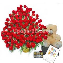 Gift package with massive 200 rose bouquet