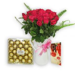 24 Red Roses with 300g Fererro Rocher pack