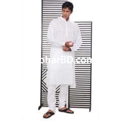 Plain white cotton panjabi