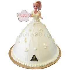 White Barbie Doll Cake