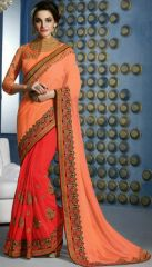 Coral- lava red soft georgette Border Work by Ginni Fashion Royal Look