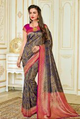 Gorgeous Blue Zameen and Light Parple Cooper contrast sardine Saree from Rajguru Fashion