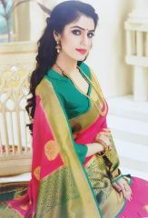 Exclusive Rosey Pink color with  gorgeous Pest green contrast sardine  soft silk katan sharee by Viniya Fashion