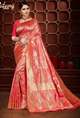 Red banarasi silk saree of patang