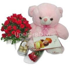 Teddy bear, Ferrero Rocher and chocolate package