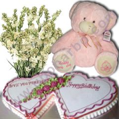 Dual heart cake, rojonigondha and teddy