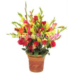 Rose and Gladiolus in Terracotta Vase