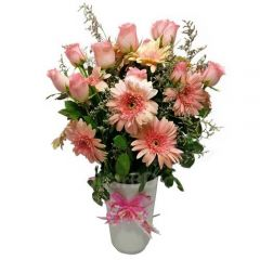 Gerbera with Pink rose bouquet
