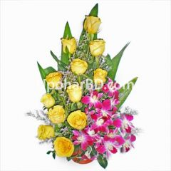 Yellow roses with orchid