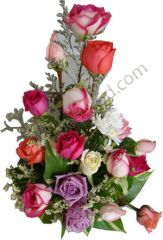 Arrangement of Multi colour imported  Roses