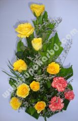 Carnation with yellow roses