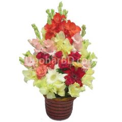 Terracotta bouquet with gerbera and roses