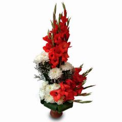 Red and White Mix Flower Vase