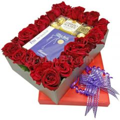 Rose box with perfume and chocolate