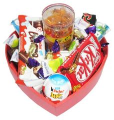 Assorted chocolate package in a heart shaped gift box