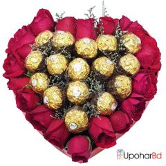 Red Heart of chocolates and flowers